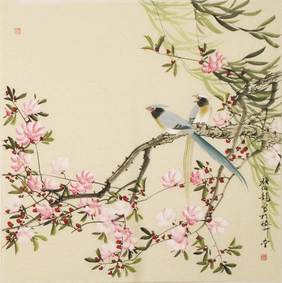 Chinese Peach Blossom Paintings: