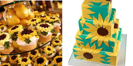 brainstorming pic (i love the idea of sunflower wrapping paper, perhaps for wedding party gifts, etc - not that paper though - though it would coordinate w/ possible color of bridesmaid's dress... hmm... I should find out where that's from). Also - cupcake cakes are soo chic right now! I say do eet! I think Jen's too much of a traditionalist though.