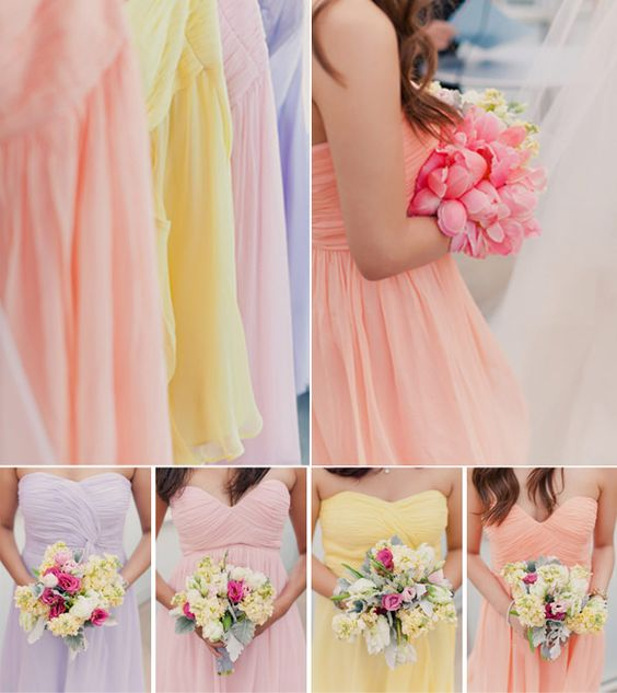 Pretty Pastel Tones Bridesmaid Dresses for Spring/Summer Wedding 2014: