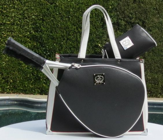 Slam Glam - Court Couture Karisa Black Pebble Tennis Tote Bag  Vintage Karisa in Black and White-Stunning!