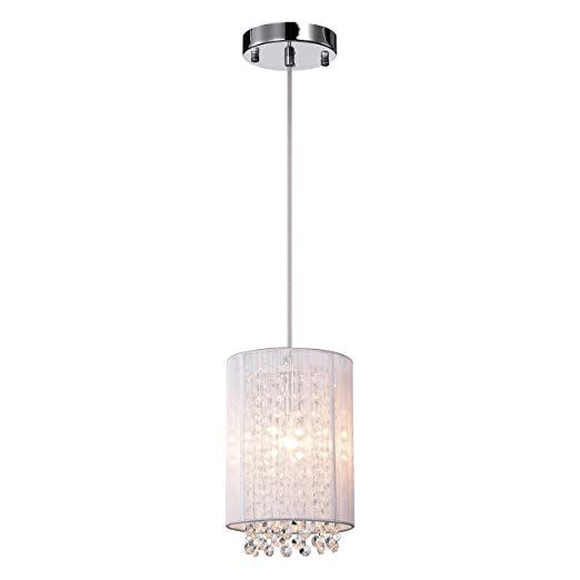 LaLuLa Pendant Lighting Crystal Pendant Light Plug-in Chandelier Mini Hanging Light Fixture 1 Light