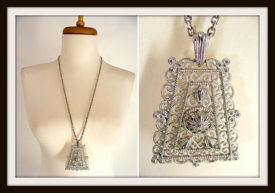 $34.44 TEMPORARILY REDUCED was 42.22 #vintage 60s 70s Crown Trifari Silver Tone Trapezoid Pendant Statement Necklace Big Ornate Etruscan Style by wardrobetheglobe on Etsy