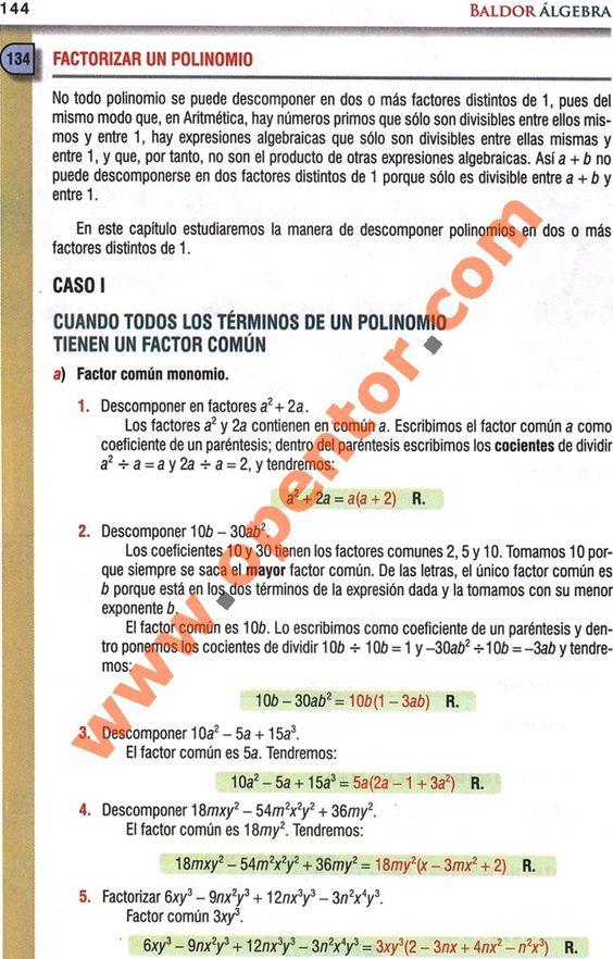 Álgebra Baldor, Factorizar un polinomio - Opentor