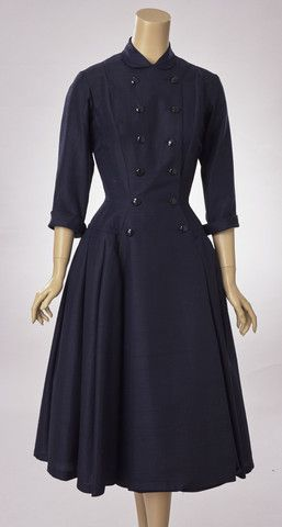 Suzy Perette Navy Blue Silk Faille Dress