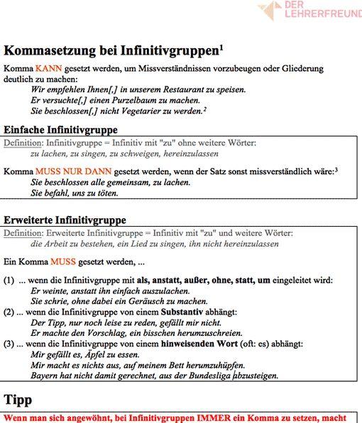 Vorschau: Arbeitsblatt Kommasetzung bei Infinitivgruppen