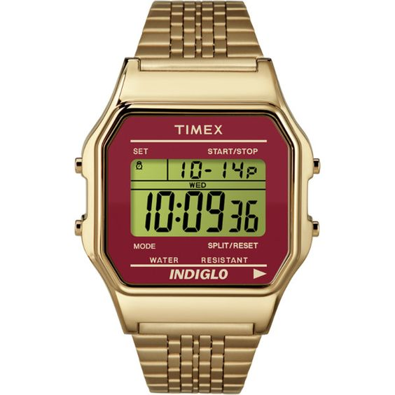 Timex Originals 80 ($75) ❤ liked on Polyvore featuring jewelry, watches, digital wrist watch, stainless steel watches, retro digital watches, stainless steel wrist watch en timex wrist watch