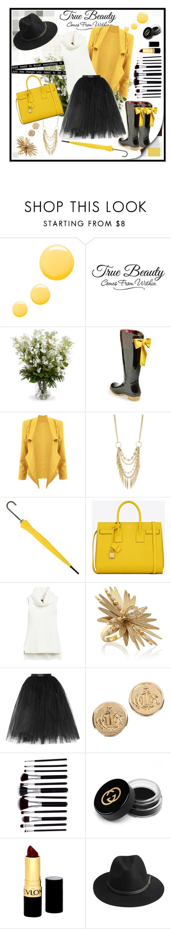 """Rainy day"" by ina-kis ❤ liked on Polyvore featuring Topshop, New Growth Designs, Joules, Panacea, Yves Saint Laurent, White House Black Market, Rosantica, Ballet Beautiful, Christian Dior and Gucci"