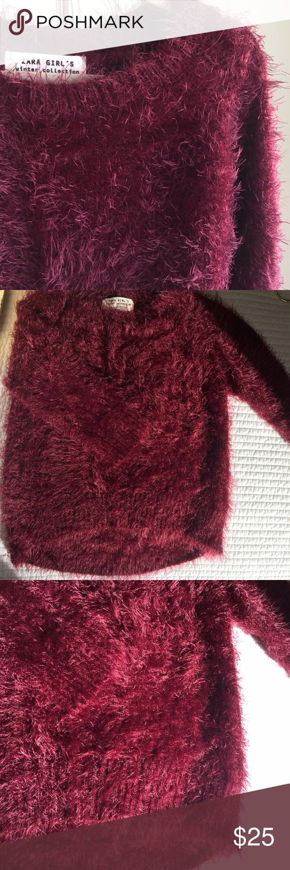 ZARA Girls Winter Collection Furry Sweater ZARA Girls Winter Collection. Super soft furry sweater in Burgandy. Slight high-low hem. 70% Polyamide 30% Acrylic. Worn once and in Excellent condition. Zara Shirts & Tops Sweaters