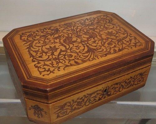 Superb Antique Satinwood Inlaid Marquetry Box | eBay
