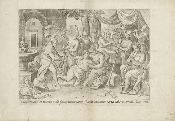 Hans Collaert (I) | De verloren zoon verkwist zijn erfenis, Hans Collaert (I), Crispijn van den Broeck, Claes Jansz. Visscher (II), 1585 | De verloren zoon verkwist zijn erfenis in een bordeel. In een tuin wordt hij omarmd door een prostituee. Een andere vrouw schenkt zijn glas vol. Links een dansende vrouw met tamboerijnen en rechts een orkest. Achter de verloren zoon staat een nar. Onder de voorstelling een verwijzing in het Latijn naar de Bijbeltekst in Luc. 15:13.