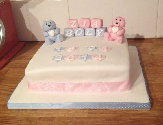 Christening cake for boy and girl