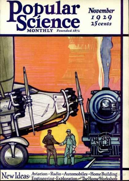 Popular Science - November 1929  Herbert Paus Cover: