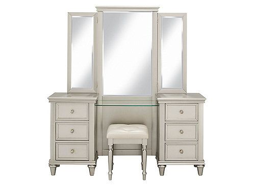 This Tiffany 2 Piece Vanity Desk With Tri View Mirror And Stool Is Classic And Stylish Besides Being Sleek And Chic With A Silky I Vanity Vanity Set New Homes