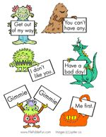 Monster Manners File Folder Game... children read what the monster say and decide if they are using good manners or bad manners.