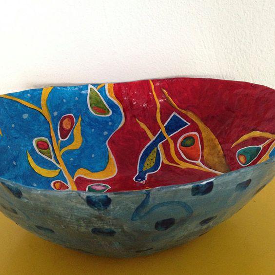 Handmade, papier mache bowl