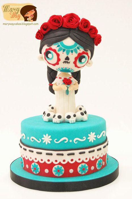 My Fave Cute Dias De La Muertas Cake Ever - by MaryWay @ CakesDecor.com - cake decorating website