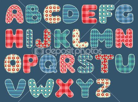 Alfabeto trapunta. impostare lettere patchwork. illustrazione vettoriale — Illustrazione stock #9290970