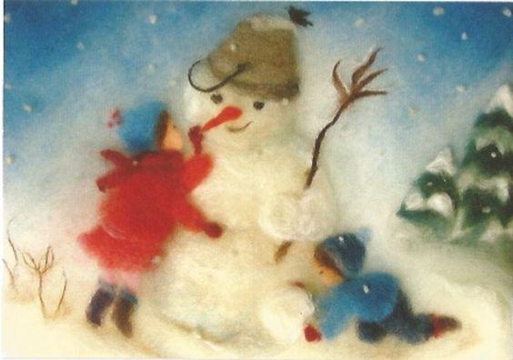 Winter - Postkarte Jahreszeitentisch Sertori-Kopp - ein Designerstück von Barbarillia bei DaWanda