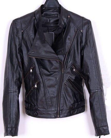 Black Leather Stand Collar Pockets Zip Jacket #SheInside
