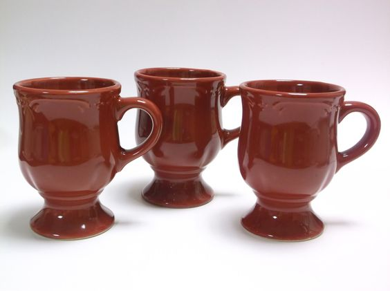 3 Piece Pedestal Mugs in Winterberry Ruby (Red) by Pfaltzgraff by DynastyCollectibles on Etsy