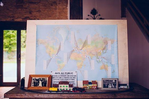 """Mapa mundi com a """"origem"""" dos convidados"""