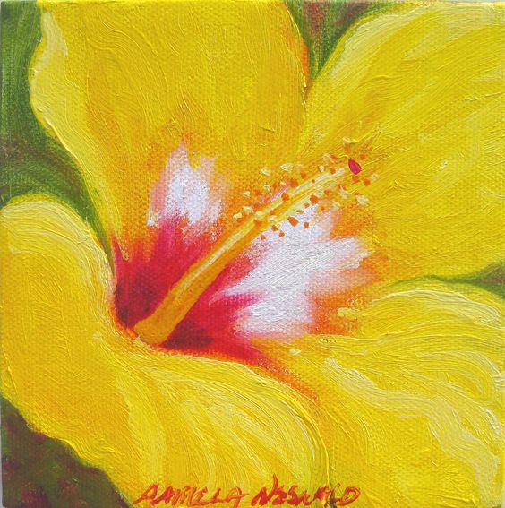 Yellow Hibiscus Flower painting - gift sized. $60.00, via Etsy.