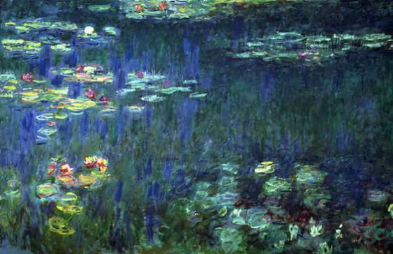 Waterlilies by Claude Monet, Green Reflection, Left Part  1916-1923; Orangerie, Paris. Monet does a fabulous job in this work. Notice the blue water through the lilies. It speaks so much to the details of this picture as the flowers do. I can vividly imagine trees, weeping willow trees, on the right, and a cloudless sky above.