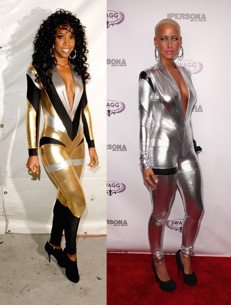 kelly rowland and amber rose in pam hogg jumosuit fall 2009