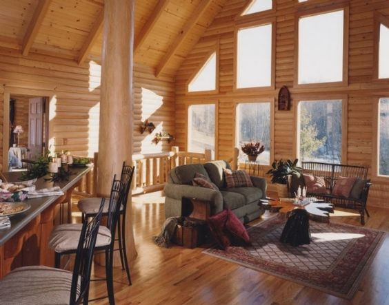 Log wall interior walls and a log on pinterest for Faux log homes