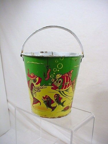 vintage beach pails | VINTAGE / VINTAGE TIN TOY SAND PAIL BEACH PAIL J. CHEIN CO. FUN FISH ...