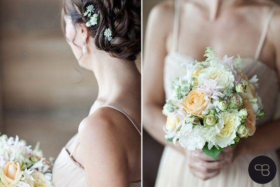 Creamy and beige bridal bouquet. Photo: Birgit Hart
