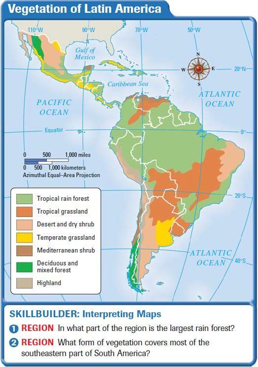 Vegetation of Latin America | Latin America and Caribbean Maps ... on