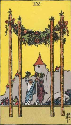 "Four of Wands is a card used in Latin suited playing cards which include tarot decks. It is part of what tarot card readers call the ""Minor Arcana"". This card is generally considered positive. It is said to reflect harmony and positive feelings, hard work with good results. According to Waite, it is country life, haven of refuge, a species of domestic harvest-home, repose, concord, harmony, prosperity, peace, and the perfected work of these. The key meanings of the Four of Wands: Celebration..."