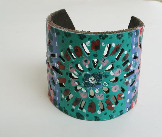 Hey, I found this really awesome Etsy listing at https://www.etsy.com/listing/194006588/leather-cuff-hand-painted-recycled