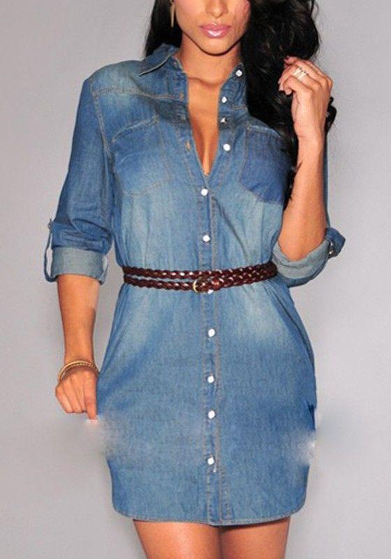 Blue Plain Belt Buttons Three Quarter Length Sleeve Denim Mini Dress