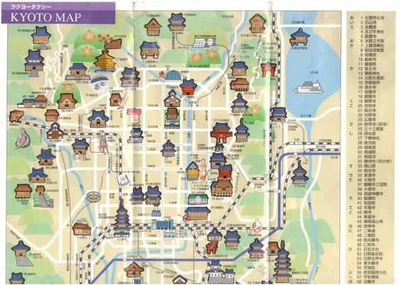 Attractions Kyoto in Japanese good for taxi 07 Japan – Tourist Attractions Map In Japan