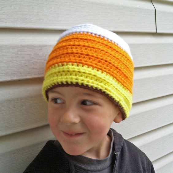 Create a kids candy corn beanie with our free crochet pattern, from Craftown. (My newest pattern)