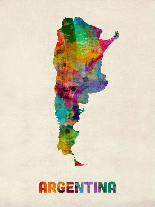Argentina Watercolor Map Art Print by artPause