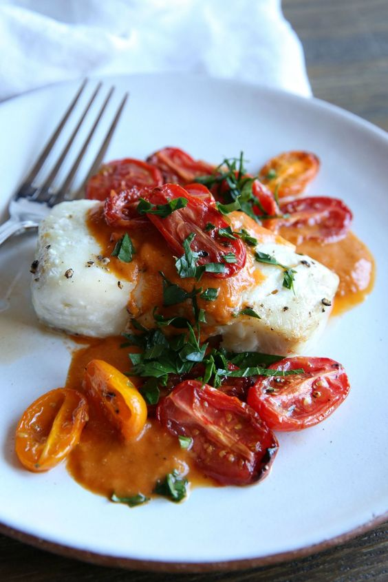 Roasted Cod with Tomato Cream Sauce