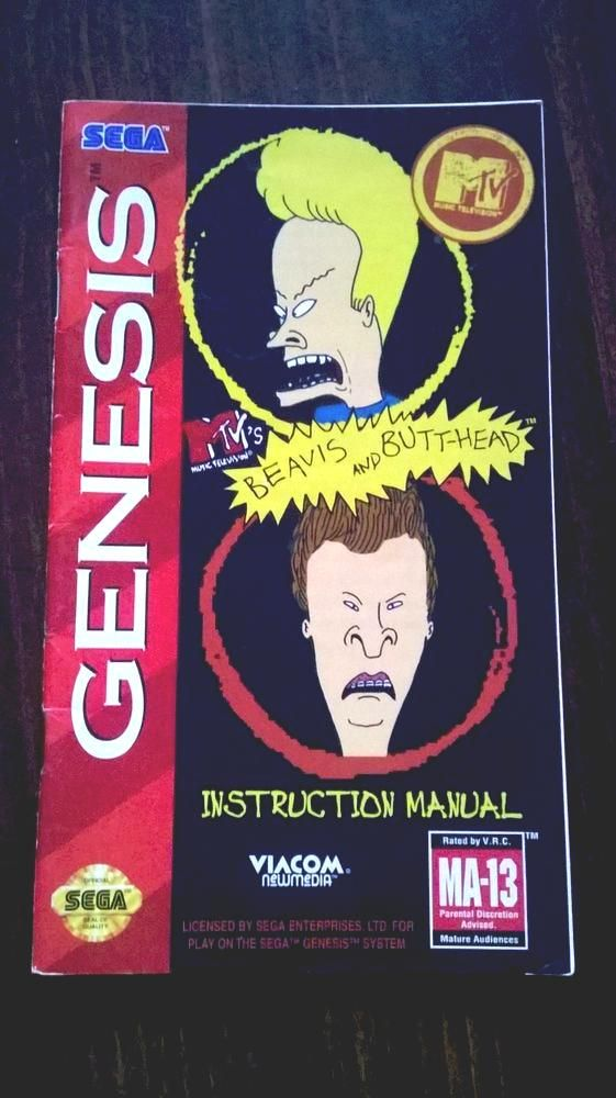 beavis and butthead #sega genesis instruction manual only from - instruction manual