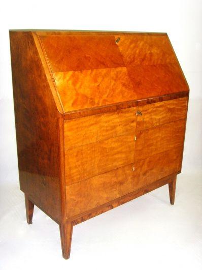 Salle des ventes abc petit secr taire de pente en bois for Petit secretaire