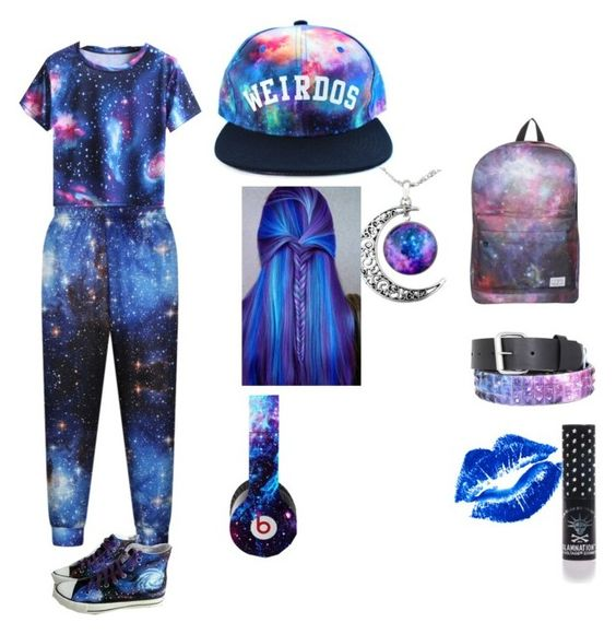 """galaxy tomboy"" by weirdgirl7204 ❤ liked on Polyvore featuring Manic Panic, RADisRAD and HVBAO"