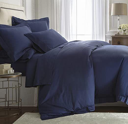 E Elana Darcy Duvet Cover Tencel Cotton Hemstitch Design Color Navy Blue Size King Cal King Duvet Cover Sets Cotton Duvet Cover Duvet Covers