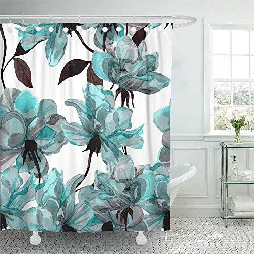 Emvency 72 X72 Shower Curtain Waterproof Blue Flower Flo Https