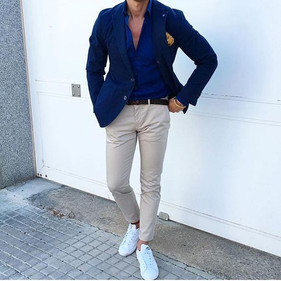 White sneakers outfit for men CHinos + Shirt +Blazer ⋆ Men's Fashion Blog - TheUnstitchd.com