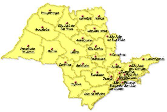Mapa do estado de São Paulo http://aovivoagora.net.br/mapa-estado-de-sao-paulo/