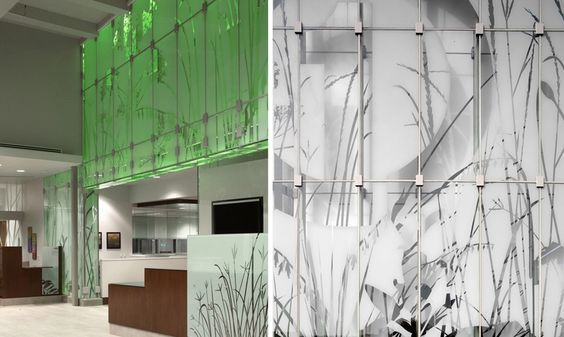 Detail of Graphics on Glass Wall, First National Bank, Metro Crossing Branch, RDG Planning & Design
