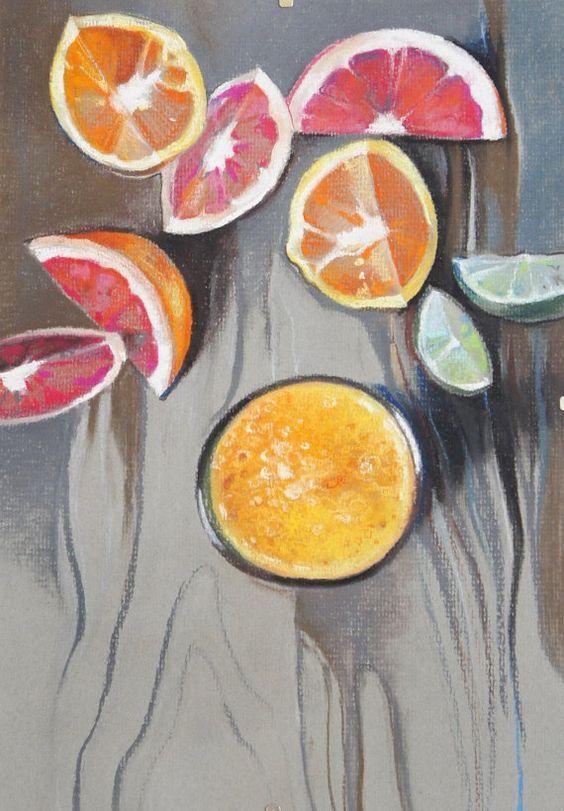 Kitchen art fruit painting original soft pastel painting for Morning kitchen designs