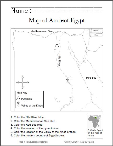 6th Grade History Worksheets : Map of ancient egypt worksheet for kids grades free