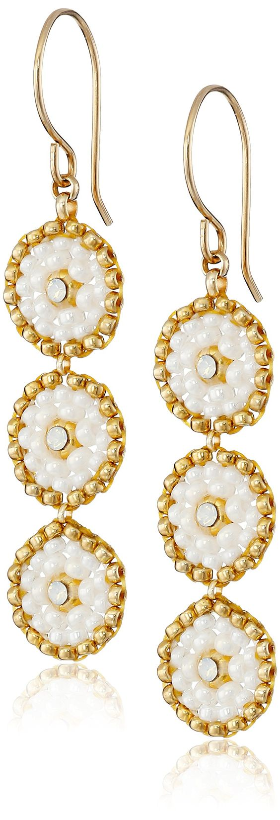 Amazon.com: Miguel Ases Swarovski and Cream Triple-Station Small Drop Earrings: Jewelry